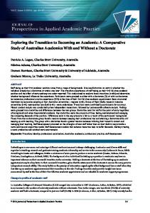 Exploring the Transition to Becoming an Academic: A Comparative ...