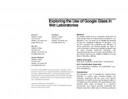 Exploring the Use of Google Glass in Wet ... - Computer Science