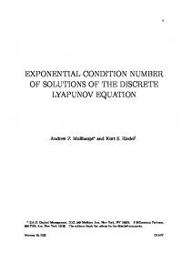 exponential condition number of solutions of the ...