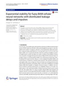 Exponential stability for fuzzy BAM cellular neural networks with ...