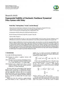 Exponential Stability of Stochastic Nonlinear Dynamical Price System ...