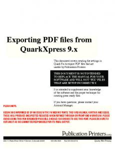 Exporting PDF files from QuarkXpress 9.x - Publication Printers