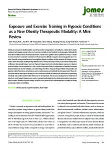 Exposure and Exercise Training in Hypoxic Conditions as a New