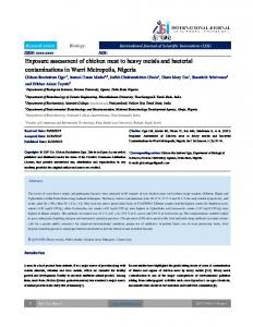 Exposure assessment of chicken meat to heavy metals and bacterial ...