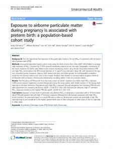 Exposure to airborne particulate matter during ... - Springer Link