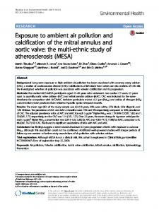 Exposure to ambient air pollution and calcification of the mitral ...