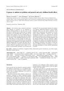 Exposure to ambient air pollution and prenatal and early ... - CiteSeerX