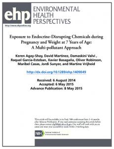 Exposure to Endocrine-Disrupting Chemicals during ... - PRBB