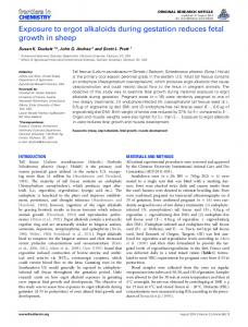 Exposure to ergot alkaloids during gestation reduces fetal ... - Frontiers