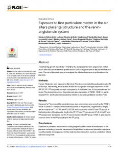 Exposure to fine particulate matter in the air alters placental ... - Plos