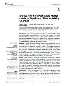 Exposure to Fine Particulate Matter Leads to Rapid