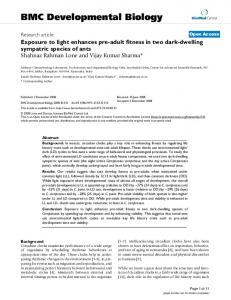 Exposure to light enhances pre-adult fitness in two dark-dwelling ...