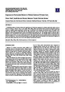 Exposure to Particulate Matter in Vehicle Cabins of Private Cars