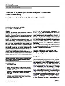 Exposure to psychotropic medications prior to