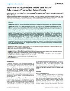 Exposure to Secondhand Smoke and Risk of ... - Semantic Scholar