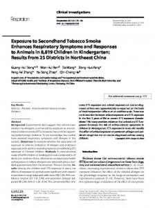 Exposure to Secondhand Tobacco Smoke ... - Karger Publishers