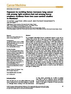Exposure to welding fumes increases lung cancer ... - Semantic Scholar