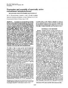 Expression and assembly of spectrally active recombinant ...