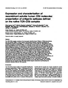 Expression and characterization of recombinant soluble human CD3 ...