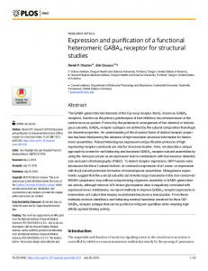 Expression and purification of a functional heteromeric GABAA ... - Plos