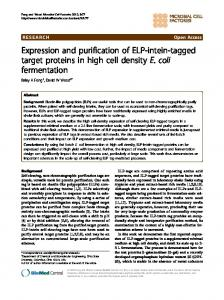 Expression and purification of ELP-intein-tagged ... - BioMedSearch