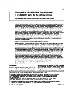 Expression of a Bacillus thuringiensis d-endotoxin gene by Bacillus ...