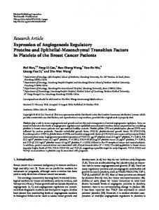 Expression of Angiogenesis Regulatory Proteins and Epithelial ...