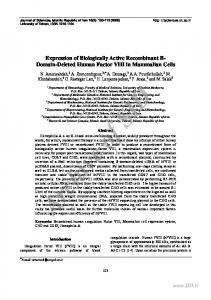 Expression of Biologically Active Recombinant B ...