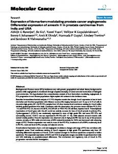 Expression of biomarkers modulating prostate cancer angiogenesis ...
