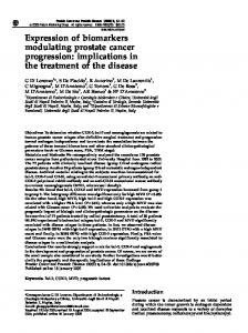 Expression of biomarkers modulating prostate cancer progression ...