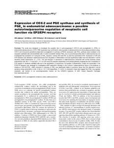 Expression of COX-2 and PGE synthase and synthesis of PGE2 in ...