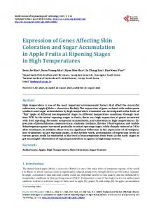 Expression of Genes Affecting Skin Coloration and Sugar ...
