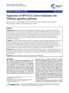 Expression of HPV16 E5 down-modulates the TGFbeta ... - Springer Link