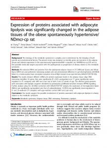 Expression of proteins associated with adipocyte ... - BioMedSearch