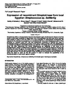 Expression of recombinant Streptokinase from local Egyptian