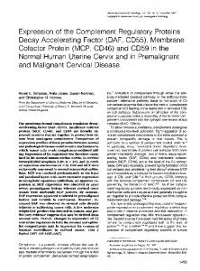 Expression of the complement regulatory proteins decay accelerating ...