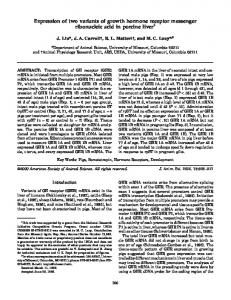 Expression of two variants of growth hormone receptor messenger ...