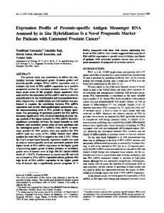 Expression Profile of Prostate-specific Antigen Messenger RNA by in ...