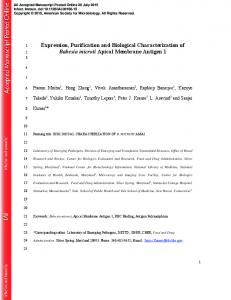 Expression, Purification and Biological Characterization of Babesia ...