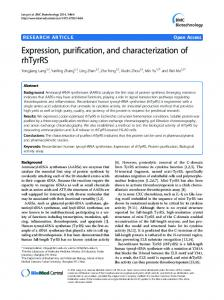 Expression, purification, and characterization of rhTyrRS | BMC ...