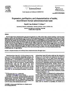 Expression, Purification, and Kinetic Characterization - The Journal of ...