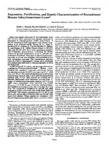 Expression, Purification, and Kinetic Characterization of Recombinant