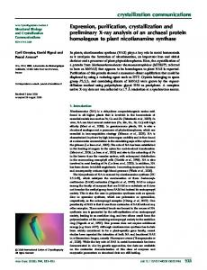 Expression, purification, crystallization and preliminary ... - IUCr Journals