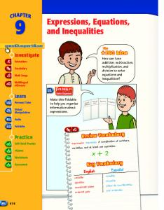 Expressions, Equations, and Inequalities - Macmillan/McGraw-Hill