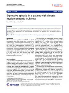 Expressive aphasia in a patient with chronic ... - Springer Link