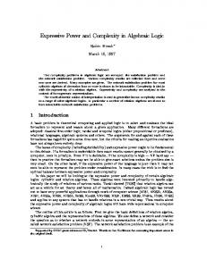 Expressive Power and Complexity in Algebraic
