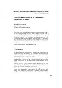 Extended measurement of an information system's performance