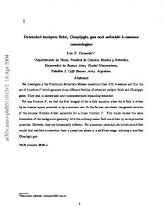 Extended tachyon field, Chaplygin gas and solvable k-essence ...