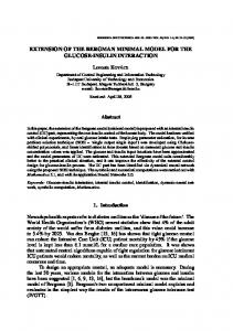 extension of the bergman minimal model for the glucose-insulin ...