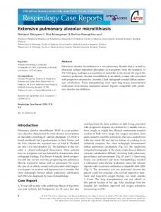 Extensive pulmonary alveolar microlithiasis - Wiley Online Library